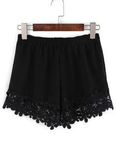 Short+taille+élastique+avec+crochet+-noir+11.11