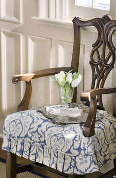 Custom Chair Seat Slipcover with pleated skirt (photo by Bob Greenspan)