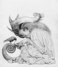 Allen Williams Art graphite drawing of faeries and figures and beasts and creatures and angels.