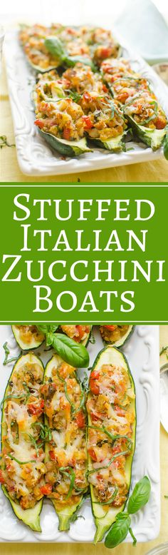 Looking for an easy stuffed zucchini recipe? Perfect for Spring and Summer dinners, these Stuffed Italian Zucchini Boats make the best stuffed zucchini recipe. Side Dish Recipes, Lunch Recipes, Dinner Recipes, Healthy Recipes, Dinner Ideas, Vegetarian Recipes, Stuffed Zucchini, Zucchini Boats, Vegetable Side Dishes