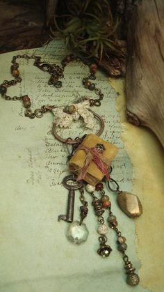 Kiss Me In November - Mixed Media Necklace by Altered Alchemy.
