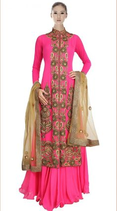 Pinkish Magenta Georgette Indowestern Dress SU8501