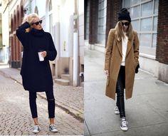 10 idées de tenues de blogueuses avec des #Converse noires Mode Converse, Outfits With Converse, Looks Baskets, Basket Noir, Types Of Girls, Fall Outfits, Duster Coat, Girl Fashion, Fall Winter