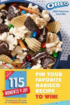 Got to make with kids!  Learn more at recipes.Nabisco115Moments.com! Pin Your Favorite NABISCO recipe for a chance to win $115…winner every day. All it takes to make OREO Field Goal Snack Mix are your favorite snacks and a home full of hungry guests. Combine chopped-up OREO Cookies with potato chips, popcorn, pretzel sticks and candy-coated chocolate pieces, and you'll be enjoying the game-day goodness before you know it.