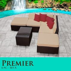 (CLICK IMAGE TWICE FOR UPDATED PRICING AND INFO) #home #patio #sofa #outdoor #outdoorsofa #patiosofa #patiosofaset #loungesets #outdoorpatiosofasets  see more patio sofa at http://zpatiofurniture.com/category/patio-furniture-categories/patio-sofa/ - Premier Modern 6 Piece Outdoor Wicker Patio Sofa Sectional Furniture All Weather Set 06A « zPatioFurniture.com