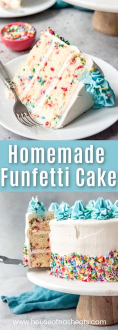 Ditch the box mix and make this super moist, from scratch, Homemade Funfetti Cake recipe (also known as confetti cake) for the next birthday or festive occasion in your life! recipes easy homemade Homemade Funfetti Cake From Scratch - House of Nash Eats Cake Recipes From Scratch, Cake Mix Recipes, Cupcake Recipes, Cupcake Cakes, Dessert Recipes, Best Birthday Cake Recipe From Scratch, Easy Vanilla Birthday Cake Recipe, Rainbow Cake Recipe From Scratch, Moist Vanilla Cake Recipe From Scratch