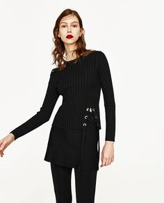 Image 4 of RIBBED SWEATER WITH CORD from Zara