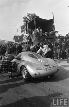 Carrera Panamericana 1953. The Porsche 550 of Jaroslav Juhan imparts the appearance of a Germanic spacecraft against the bucolic backdrop of the Carrera.