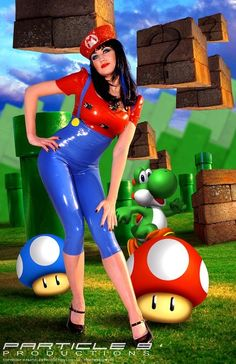 Super Mario Inspired Two Piece Cosplay Dress-up Comic Outfit in Latex Rubber by Shhh Couture