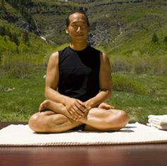 Rodney Yee in lotus pose for meditation, near Sundance, Utah