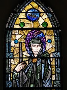 Detail of St. Brendan, stained glass in Tullamore Church. This catholic church is located in Ireland. Harry Clarke is the artist born in who studied stained glass in his teens at the Dublin Metropolitan School of Art. Stained Glass Rose, Stained Glass Church, Modern Stained Glass, Stained Glass Windows, Harry Clarke, Leaded Glass, Mosaic Glass, Pierre Loti, Irish Art