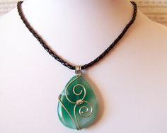 Sale Wire Wrapped Green Onyx Agate Pendant Necklace by lutita