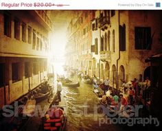 FLASH SALE til MIDNIGHT Venice Italy Gondola Parking Photographic Art Print, Wall Art for Home decor, 12 Sizes Available from Prints to Moun