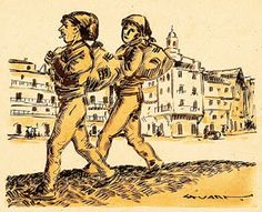 SALOIOS EM LISBOA - Stuart Carvalhais (1887-1961). Tinta da China aguarelada sobre papel (25 x 30 cm). Colecção particular