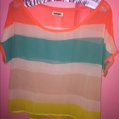 Garage Chiffon Top Excellent condition, wear a cute bandeau under this stripped chiffon top! Garage Tops Blouses