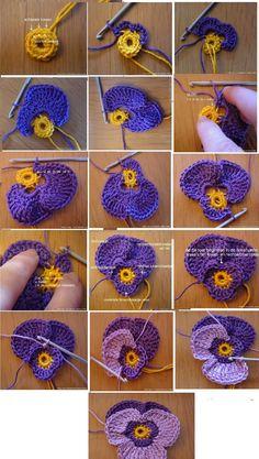 Crochet Earrings Pattern, Crochet Motif Patterns, Crochet Buttons, Knit Or Crochet, Crochet Crafts, Crochet Projects, Crochet Flower Tutorial, Crochet Instructions, Crochet Video