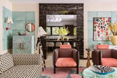 Kelly Wearstler Online Store: Interiors Residence Designed by Kelly Wearstler Kelly Wearstler, Pierre Frey, Interior Design Inspiration, Room Inspiration, Vogue Living, Cozy Living Rooms, Vintage Chairs, Minimalist Home, Architecture