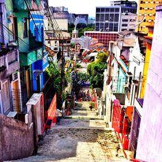 De cima para baixo. Escadaria Selarón , Rio de janeiro