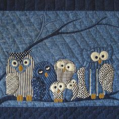 Quilt Inspiration from Quiltopia: Owls Owl Quilts, Animal Quilts, Star Quilts, Mini Quilts, Applique Quilts, Baby Quilts, Quilting Room, Quilting Projects, Quilting Designs