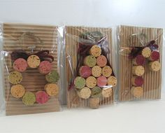 Wine cork Christmas ornaments. I made these for a few friends as a small Christmas gift. Easy and cute!