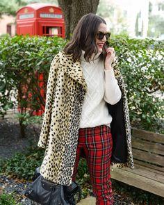 leopard coat// plaid pants