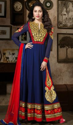 Shraddha Kapoor Blue Georgette Long Length Anarkali Suit Lend a cutting edge to your wardrobe this season just as Shraddha Kapoor decked in this royal blue shade faux georgette long length Anarkali suit. Embroidered decorative patterned yoke part and bold hemline completes beauty. Bold embroidered motif decked side panel makes it undeniably flattering. #LatestCollectionAnarkaliSuits #BollywoodAnarkaliSuits