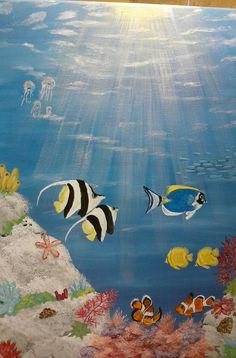 Painting on 16 x 20 canvas with acrylics. Under the sea with fish and coral. $95