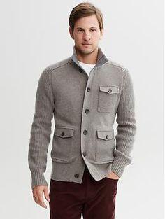 If bro's feeling confident ;) Merino wool button-pocket cardigan | Banana Republic