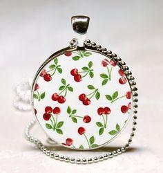 Cherry Necklace Rockabilly Jewelry Glass by MissingPiecesStudio, $8.95