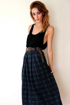 adorable pleated plaid maxi skirt!