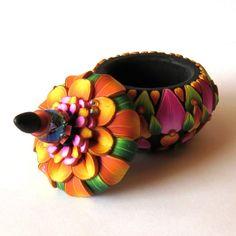 Orange and Pink Flower Pot, Wedding Ring Box, Keepsake tiny treasure vessel by Claybykim
