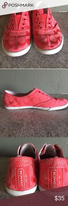 Coach Pink Katie Shoes Excellent used condition Coach sneakers. Pink Katie style with an elastic top so no laces! Only slight wear shoes on the soles. Man made outsole. Size 7.5 Coach Shoes Sneakers