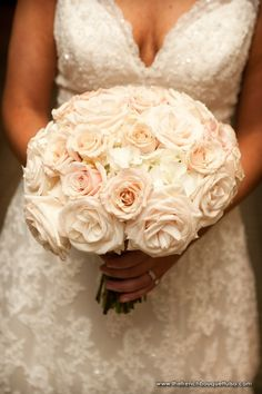 Feminine-Chic Bridal Bouquet of Light Pink Vendela and Majolica Roses and White Hydrangea - The French Bouquet - Chris Humphrey Photographer