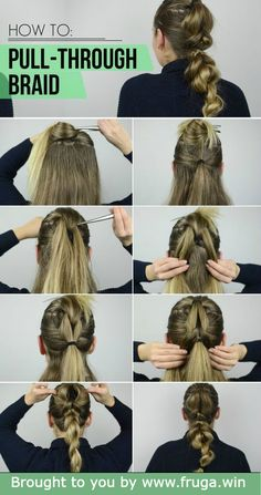 Pull-Through Braid: In this article, you will learn a real and easy way to achieve a voluminous ponytail. A listed step by step guide and a video tutorial. # pull through Braids ponytail Pull-Through Braid: How to achieve a voluminous ponytail Tree Braids Hairstyles, Down Hairstyles, Braided Hairstyles, Mohawk Braid, Braided Ponytail, Latest Braid Styles, Dookie Braids, Voluminous Ponytail, Ponytail Tutorial
