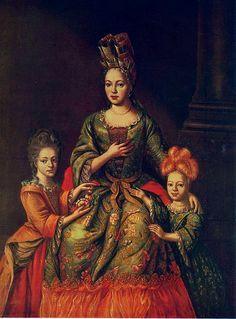 Anastasia Nayshkiva and daughters Alexandra and Tatyana.  Very early 18th century.