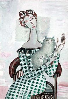 Cat and people paintings. Tatyana Gorshunova - Woman with a Cat.