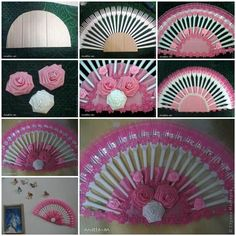 Here is a super cute idea to make a decorative fan from plastic forks. You don't have to use new plastic forks. Here Are The Things You May Need: Plastic Forks; Paper Or Fabric Roses; A Round Shape Object; Plastic Spoon Crafts, Plastic Silverware, Plastic Spoons, Plastic Bags, Diy Projects To Try, Crafts To Make, Craft Projects, Diy Crafts, Fork Crafts