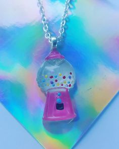 Resin Pendant Necklace - Pink Gumball Machine