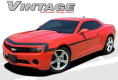 """Camaro VINTAGE : 2010 2011 2012 2013 Chevy Camaro """"1968"""" Style Nose and Fascia Vinyl Graphics Stripe Kit  * NEW * 2010-2013 Chevy Camaro VINTAGE """"1968"""" Style Nose and Fascia Stripe Kit! Engineered specifically for the new Camaro, this kit will give you a factory OEM upgrade look at a discount price! Pre-Cut pieces ready to install!"""