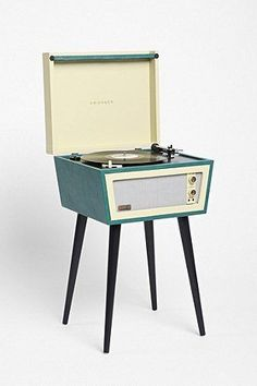 CROSLEY Dansette Bermuda Turntable Turquoise Record Player w/ Legs NEW | eBay