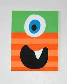 kids bathroom monster canvas