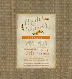 printable fall vintage bridal shower inviation shabby chic autumn wedding shower invitation orange