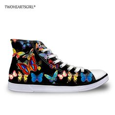 TWOHEARTSGIRL Classic Women Canvas Shoes Personalized Printed Butterfly Canvas Shoes for College Student High Top Vulcanize Shoe