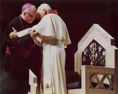 . Pope John Paul II with Archbishop Stafford. Part of World Youth Day in Denver, August, 1993. Kent Meireis/The Denver Post