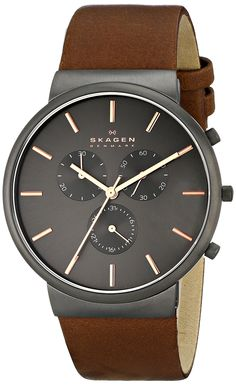 love this. leather strap. gun metal with rose gold esque details. chronograph. slim side profile. very nice watch. unfortunately, brother already owns this =p