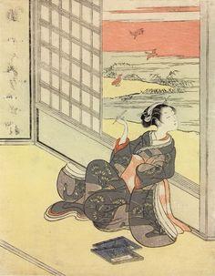 Title:見立三夕 西行法師 Parodies of the Three Evening Poems  Saigyô Hôshi Artist:鈴木春信 Suzuki Harunobu