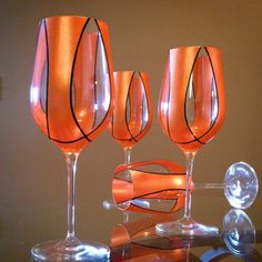 Perfect for weddings, Christmas gifts, or just because. Glasses are German Crystal and hand painted with Martha Stewart glass paint and Sharpie