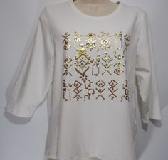 TanJay Ivory Colored Petite Large 3/4 Sleeve Gold Hieroglyph Design Blouse (PL) #TanJay #Blouse #Casual