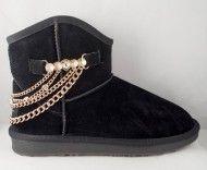 Cizme Negre tip UGG scurte cu lant - Incaltaminte Online Uggs, Ugg Boots