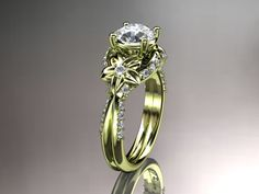 Unique 14kt yellow gold diamond flower, leaf and vine wedding ring,engagement ring ADLR220